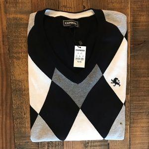 Express - Black, Gray and White Argyle Sweater XL